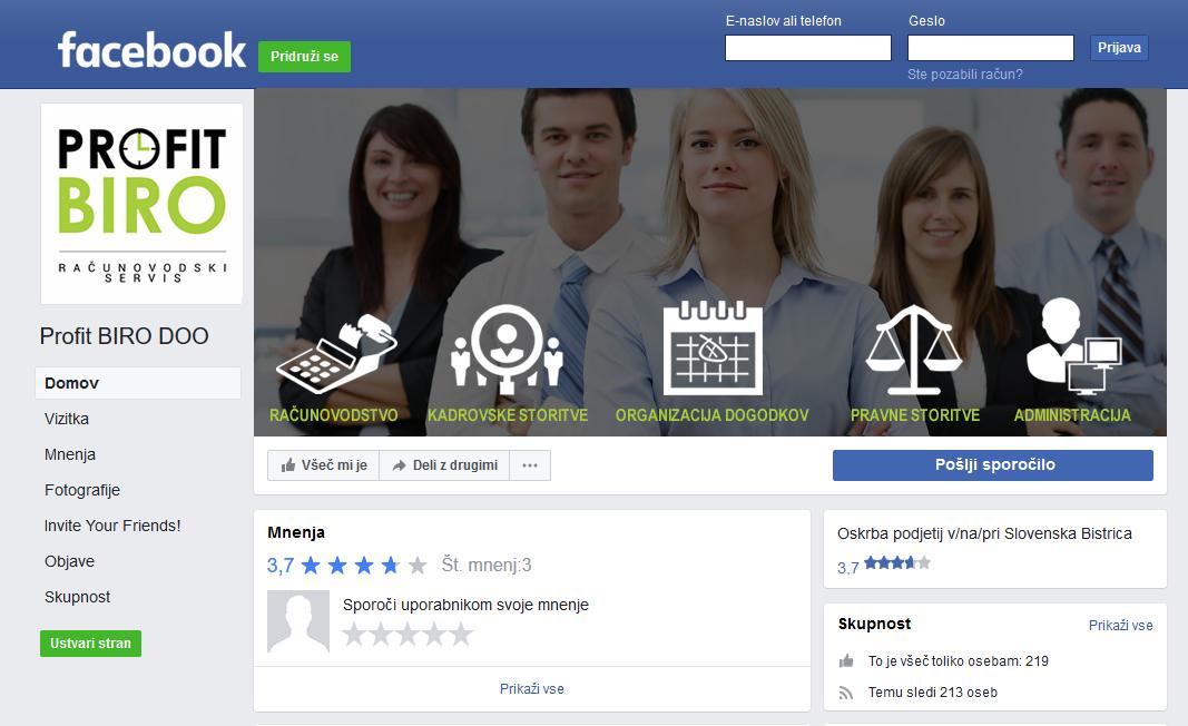 Oblikovanje facebook profila profitbiro