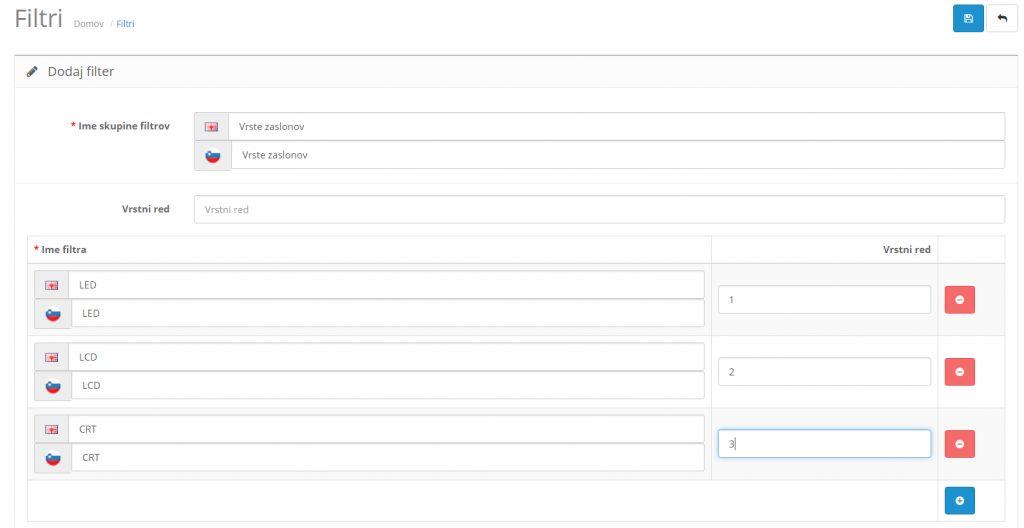 Filtri v Opencart spletni trgovini: Kreiranje skupine filtrov