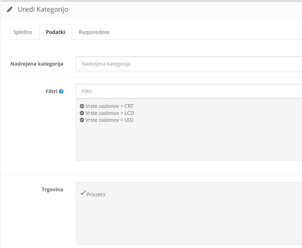 Filtri v Opencart spletni trgovini: pripisovanje filtrov kategorijam