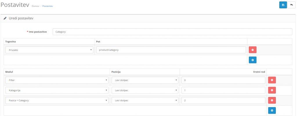 Filtri v Opencart spletni trgovini: pozicija modula