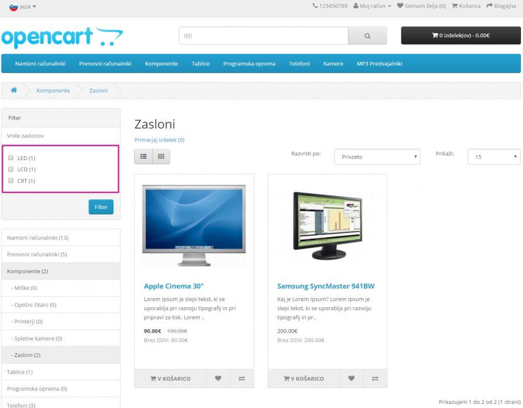 Filtri v Opencart spletni trgovini