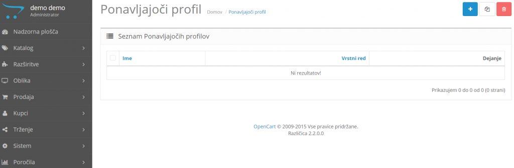 Ponavljajoč profil Opencart: Nastavitve