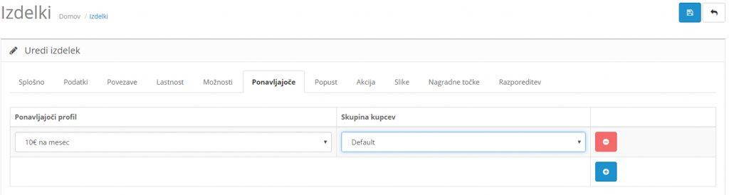 Ponavljajoč profil Opencart: nastavitve izdelka