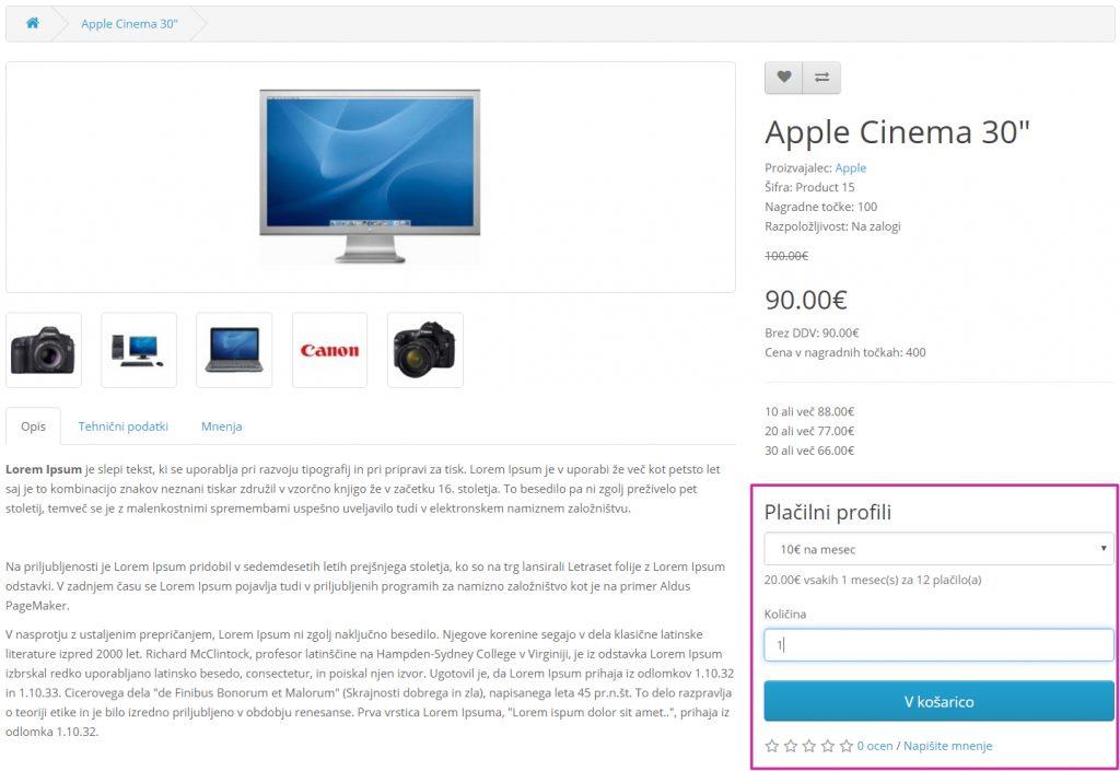 Ponavljajoč profil Opencart: naročnina na storitev ali izdelek