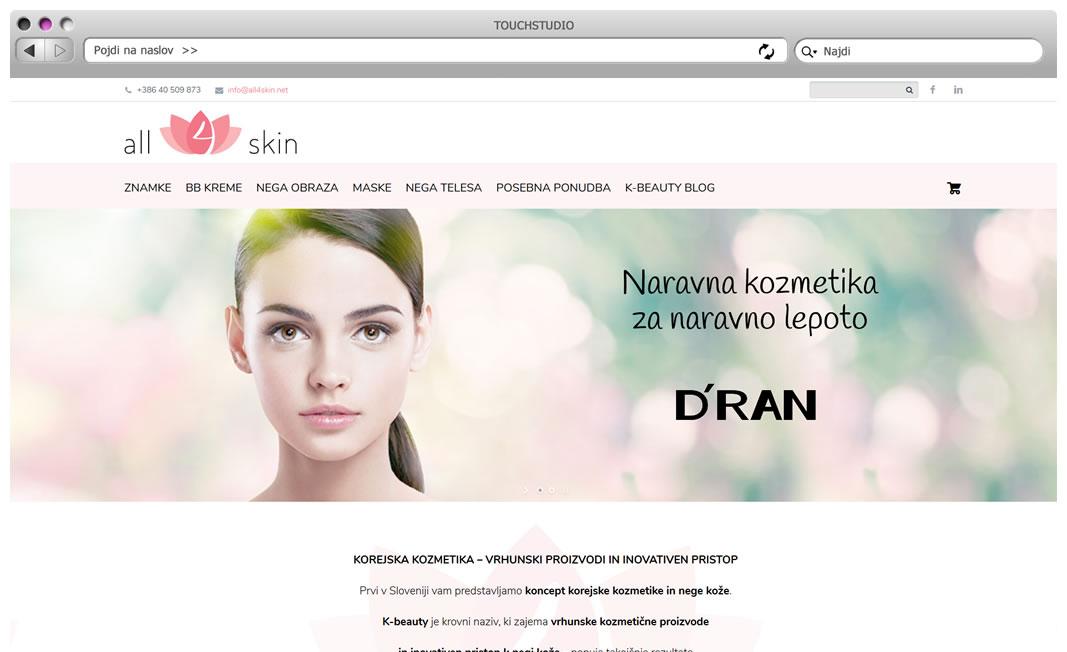 Tehnično vzdrževanje spletne trgovine all4skin